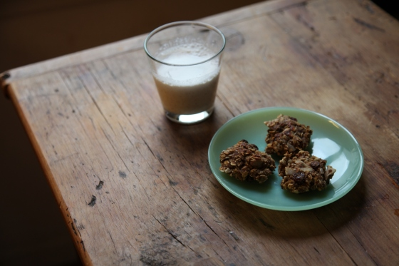 Breakfast cookies and almond milk